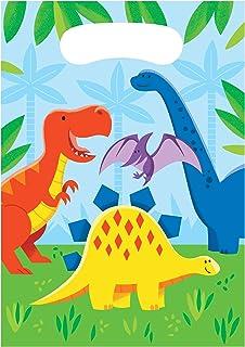Creative Converting Dinosaur and Friends Plastic Treat Bags 8-Pieces, Multicolour