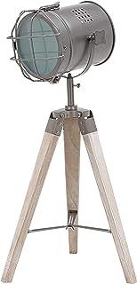 BRUBAKER - Lampadaire/Lampe sur pied - Design industriel - Hauteur 65 cm - Trépied en Bois - Spot en Métal/Gris mat
