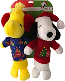 Dan Dee Holiday Pet Toys Dog Snoopy and Woodstock Peanuts Christmas Squeakers Fun Large Toy 2 Pc Set