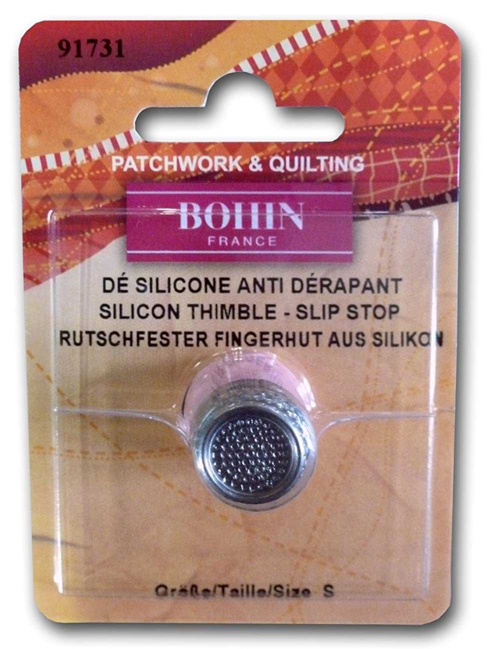 Bohin Silicon Thimble with Steel Top Size Small Pink - Blister Pack