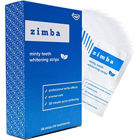 Zimba Teeth Whitening Strips, 28 Non-Sensitive White Strips Teeth Whitener for Tooth Whitening, Helps Remove Smoking Coffee Soda Wine Stain, 28 Strips (14 Stain Removal Treatments) (Mint, 1 Pack)