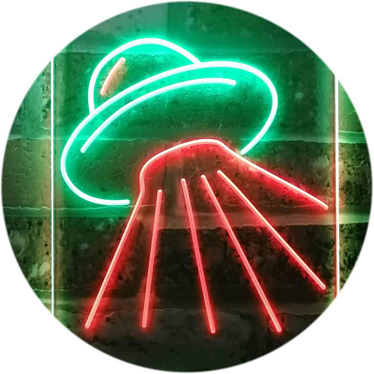 ADVPRO Manufacturer direct delivery UFO Alien Spaceship Dual Color Green Sign Neon Fees free Red LED