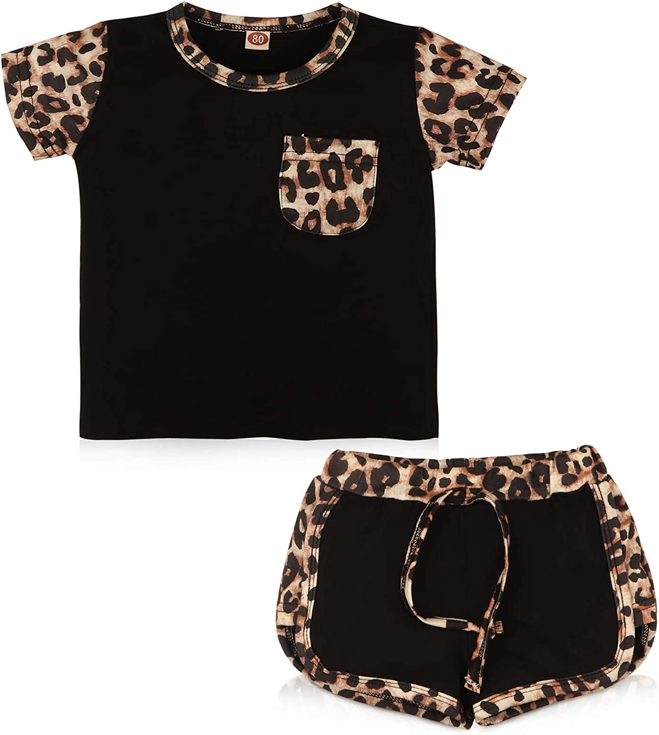 Leccod Toddler Infant Baby Girls Summer Clothes Outfits Leopard Print Short Sleeve Pocket T-Shirt Tops Pants Set