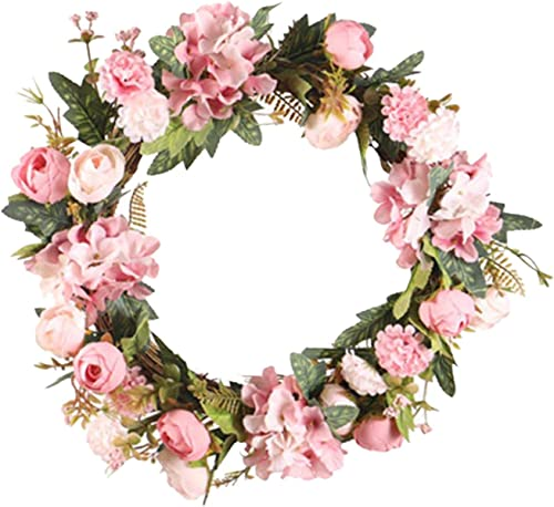 new arrival Artificial Flower Wreath for Front Door Peony Rose Wreath Wall Hanging Ornament sale Decoration Spring Flower Wreath Valentine's Day, Wedding, wholesale Wall, Home Decor, 17IN outlet online sale