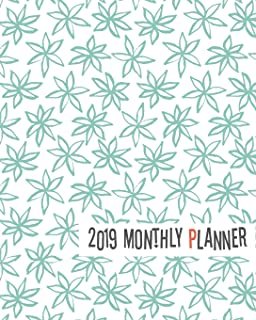 2019 Monthly Planner: Cute Turquoise Leafs Yearly Monthly Weekly 12 Months 365 Days Cute Planner, Calendar Schedule, Appoi...