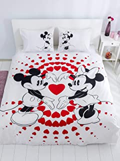 Minnie Mickey Mouse Bedding Set, Love Hearts Themed Quilt/Duvet Cover Set with Fitted Sheet, Reversible, Single/Twin Size, Red Black White, (3 PCS)