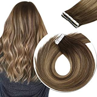 Sunny Hair Extensions Tape in Dark Brown Highlights Caramel Blonde 14inch Balayage 100% Remy Human Hair Extensions Tape in 10pcs 25g