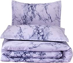 A Nice Night Marble Design Quilt Comforter Set Bed-in-a-Bag,Queen (Blue-Marble)
