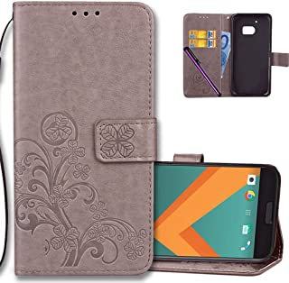 HTC M10 Wallet Case Leather COTDINFORCA Premium PU Embossed Design Magnetic Closure Protective Cover with Card Slots for HTC 10 2016 (One M10, One 10, M10).