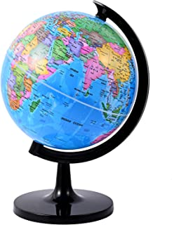 Wizdar 8'' World Globe for Kids Learning, DIY Assemble Educational Rotating World Map Globes Large Size Decorative Earth C...