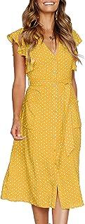 MITILLY Women's Summer Boho Polka Dot Sleeveless V Neck...