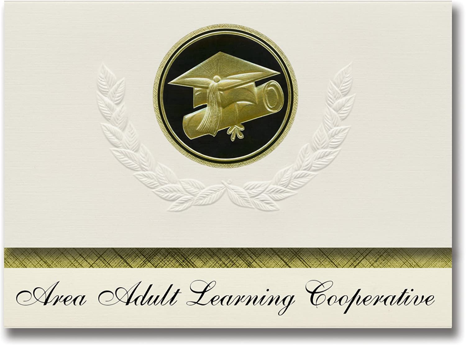 Signature Announcements Area Adult Learning Cooperative (Lesueur, MN) Graduation Announcements Presidential-Stil, Elite-Paket mit 25 Kappen & Diplomversiegelung, Schwarz & Gold B07CD2KZJ9 | Marke
