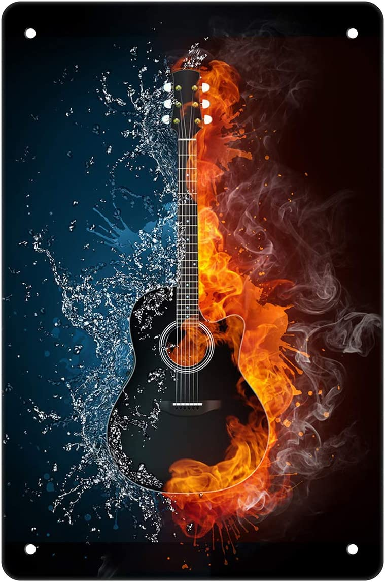 Ice and Fire Guitar Beer Metal Tin Sign Bar Country Farm Kitchen Wall Home Decor Art Signs Gift for Friend 8X12Inch
