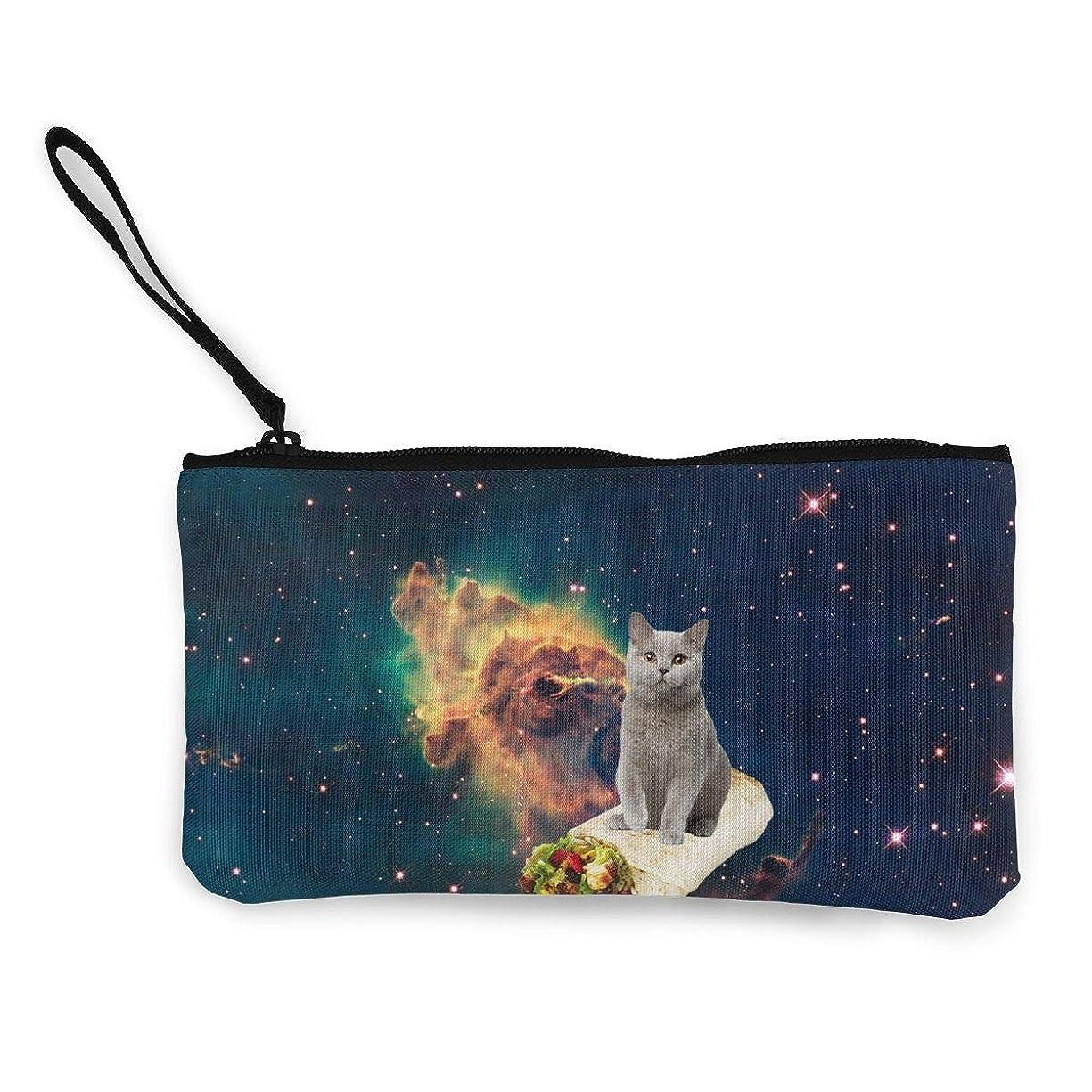 動く資金サミュエルErmiCo レディース 小銭入れ キャンバス財布 太空柄猫 小遣い財布 財布 鍵 小物 充電器 収納 長財布 ファスナー付き 22×12cm