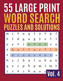 55 Large Print Word Search Puzzles And Solutions: Activity Book for Adults and kids Word Search Puzzle: Wordsearch puzzle ...