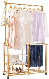 Yorbay Portant Penderie à Vêtements en Bambou, Porte Manteau sur Roulettes, avec Etagères de Rangement réglables et 5 Croc...