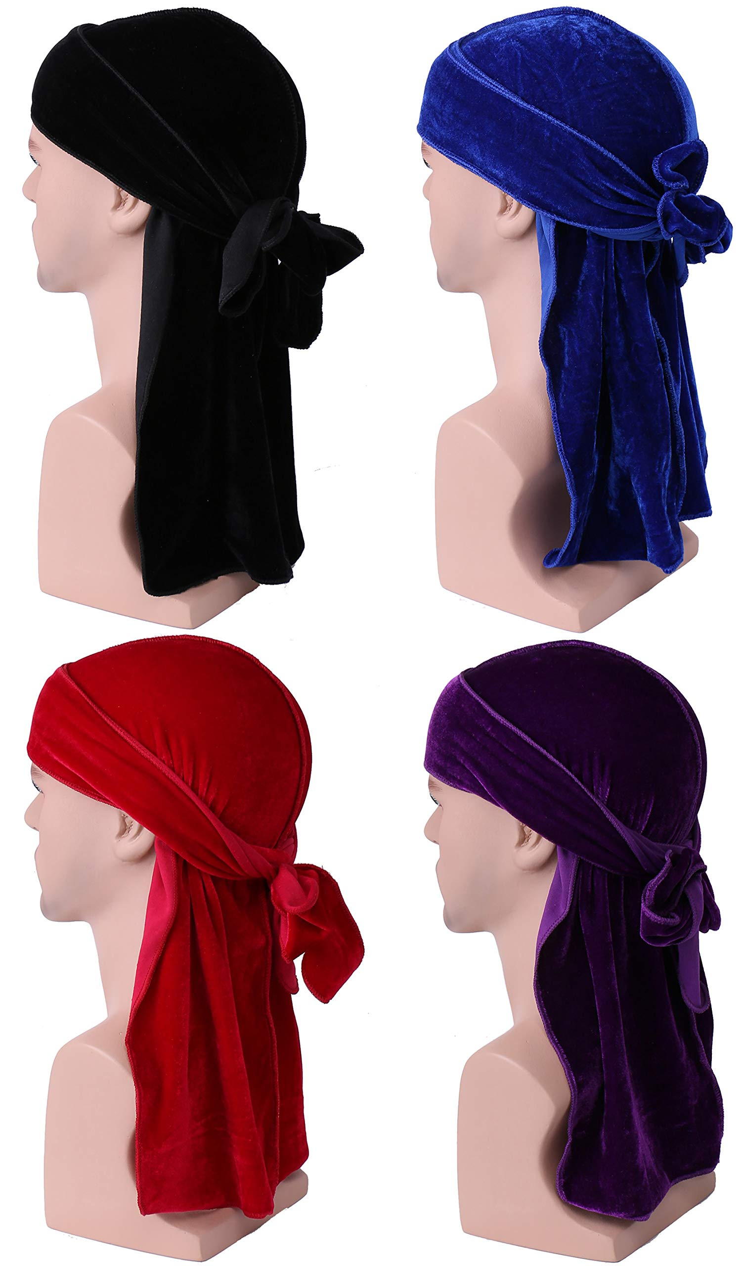 Babalet Durags for Men New Multi-Design Velvet Durag 360 Wave Caps for Women