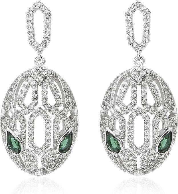 Janefashions Snake Eye White Green CZ Dangle Drop Earrings Studs Chandelier Bridal Rhodium Plated W1024