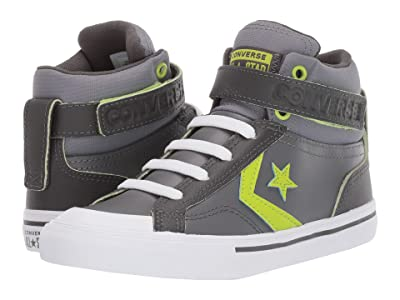 Converse Kids Pro Blaze Strap Hi (Little Kid/Big Kid) (Dark Concrete/Carbon Grey/Bold Lime) Boy