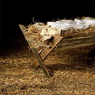 AOFOTO 5x5ft Vintage Manger Filled with Hay Background Barn Crib Birth of Christ Child Photography Backdrop Stable Newborn Jesus Nativity Photo Studio Props Kid Baby Infant Portrait Xmas Wallpaper