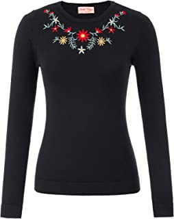 Women's Retro Embroidered Sweater Pullover Long Sleeve Knitting Sweater Tops