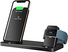 Goton 2 in 1 Wireless Charger, Watch Charging Dock Compatible Fitbit Charge 2 and Fast Qi Wireless Phone Charging Stand Compatible iPhone, Compatible Samsung Galaxy, Qi-Enabled Smartphone