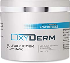 Sulfur Purifying Clay Mask- Deep Pore Cleansing Treatment. Clears Away Acne Causing Bacteria, Clogged Pores, Scars, Oily Skin, Whitehead & Blackhead Pimples For Face & Body With Natural Healing.