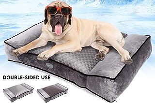 Pecute Plüsch + Ice Silk Doppelseitiges Hundebett groß Haustier Hundebett Grosse Hunde Vier Jahreszeiten universal waschbar Abnehmbar für mittlere und große Haustiere