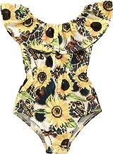HAPPYMA Toddler Baby Girl One-PieceSwimsuit Sunflower Ruffles Swimwear Bikini Summer Bathing Suit