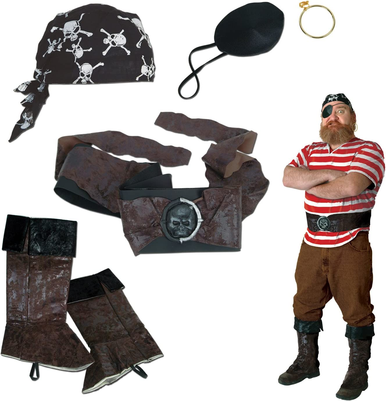 Pirate Set Includes: Boot Toppers SALENEW very popular Scarf Eye Max 77% OFF Patch Earri Head