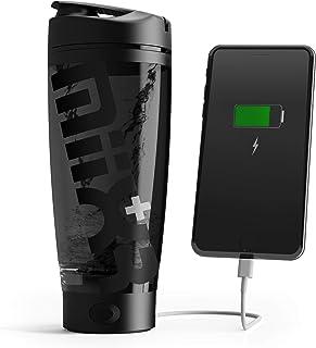 PROMiXX MiiXR+ PLUS Botella Batidora de Proteínas, Recargable, con Banco de Energía Portátil, incluye Almacenamiento de Suplemento Integrado y Vaso de Tritan fácil de Limpiar | 600 ml (Stealth Negro)