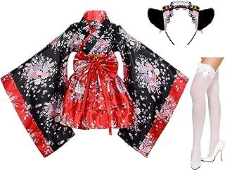 Elibelle Japanese Anime Lolita Cherry Sakura Flower Printing Kimono Costumes Fancy Dress Maid cat Headband Socks Set(DHF00...
