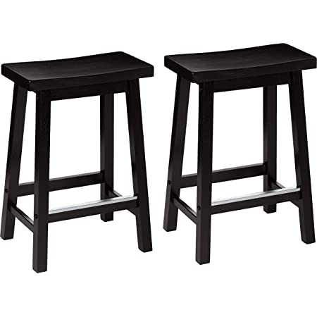 """Amazon Basics Classic Solid Wood Saddle-Seat Counter Stool with Foot Plate - 24"""", Black, 2-Pack"""