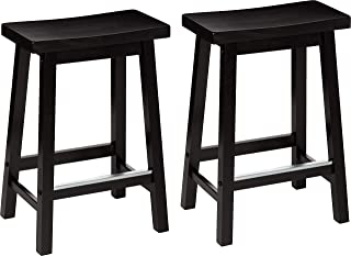 AmazonBasics Classic Solid Wood Saddle-Seat Kitchen Counter Stool with Foot Plate 24..