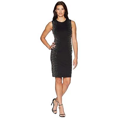 Calvin Klein Embellished Side Panels Sheath Dress CD8M18TP (Black) Women