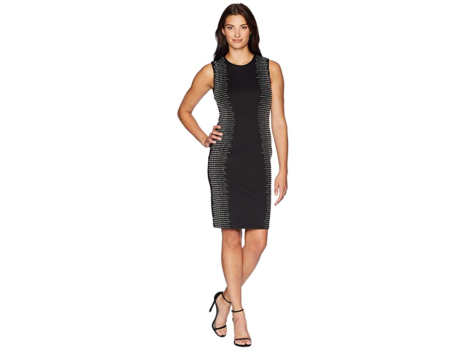 Calvin Klein Embellished Side Panels Sheath Dress CD8M18TP (Black) Women