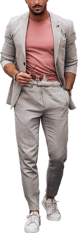 Men's Suits Grey Casual Blazer 2-Piece Wedding Party Slim fit