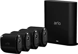 Arlo Pro 3 - Wire-Free Security 4 Camera System | 2K with HDR, Indoor/Outdoor, Color Night Vision, Spotlight, 160° View, 2-Way Audio, Siren | Compatible with Alexa | (VMS4440B)