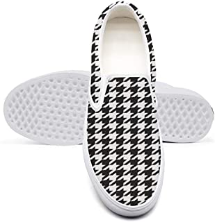 Plaid Printing Houndstooth Black and White Men's Gift Low Cut Unique Walking Shoes