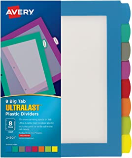 AVERY Plastic Ultralast 8-Tab Big Tab Dividers for 3 Ring Binders, Multicolor, 24 Sets (24901)