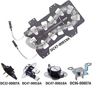 Samsung Dryer Heating Element DC47-00019A, Thermal Fuse (DC96-00887A and DC47-00016A), Thermostat (DC47-00018A) and Dryer Thermistor (DC32-00007A),Dryer Repair Kit Replacement(5Pack)
