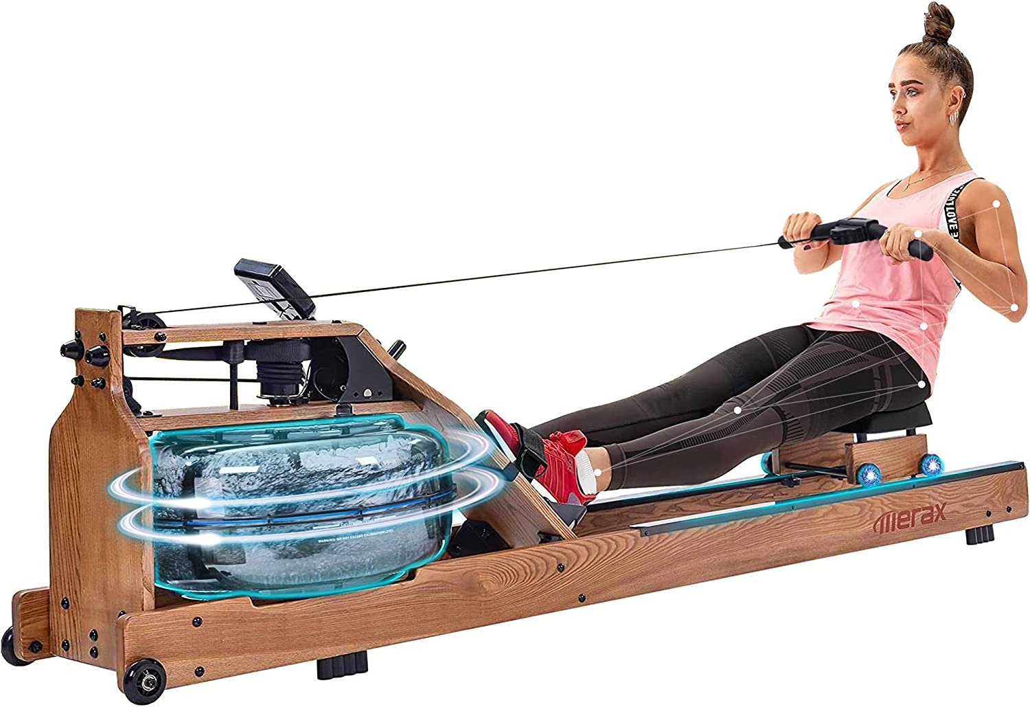Merax Water Rowing Machine Wood Max 56% OFF Home Resistance Rower for Sacramento Mall