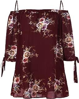 Women Plus Size Floral Classic Straps Cold Shoulder Regular Sleeve Blouse Shirt Top