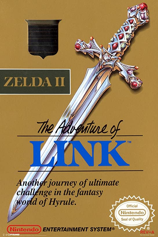 Pyramid America The Adventure of Link Zelda II Super Nintendo NES Game Boy DS 3DS Wii Vintage Box Art Poster 12x18 inch