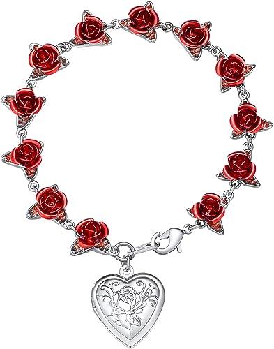 U7 Women Girls Rose Flower Charm Bracelet 18K Gold or Platinum Plated Link 12 Roses Jewelry Lover Gift with Custom Se...