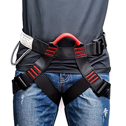 Weanas Thicken Climbing Harness, Protect Waist Safety Harness, Wider Half Body Harness for Mountaineering Fire Rescuing Rock Climbing Rappelling Tree Climbing