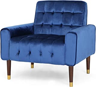 Christopher Knight Home 307565 Betsy Velvet Armchair, Modern Glam, Button-Tufted, Waffle Stitching, Navy Blue