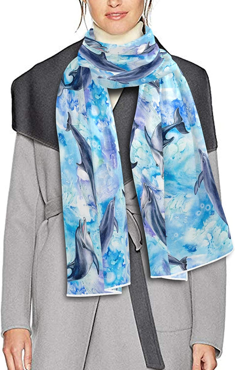 Scarf for Women and Men Sea Blue Dolphins Life Blanket Shawl Scarves Wraps Soft Winter Large Scarves Lightweight
