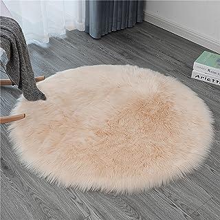 Ommda Dywan ze sztucznego futra owczej skóry do salonu okrągły zmywalny antypoślizgowy miękki kudłaty włochaty dywan do sy...