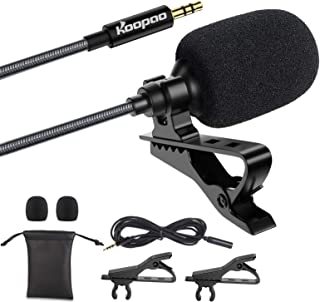 lavalier microphone,mini microphone,3.5mm Lapel Microphone, KOOPAO Omnidirectional Condenser Lavalier Mic with Clip for Apple iPhone Android Windows Computer Smartphone
